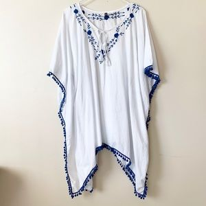 Manhattan Blues Embroidered Swim Cover-up